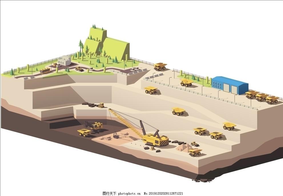 开采,挖掘,挖沙,掏沙,沙场,工业区,吊机
